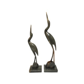 Hand Carved Heron Waterbird Figurines - Set of 2 For Sale