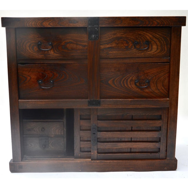 Antique Japanese Choba Tansu With Locking Bar For Sale - Image 4 of 8