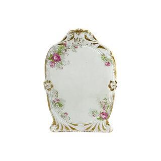 Antique Limoges Pink Floral Gilt Menu For Sale