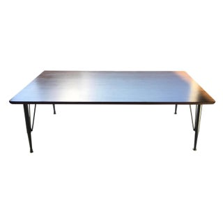 Mid-Century Modern Thonet Style Adjustable Height Low Walnut Table on Chrome Industrial Legs For Sale