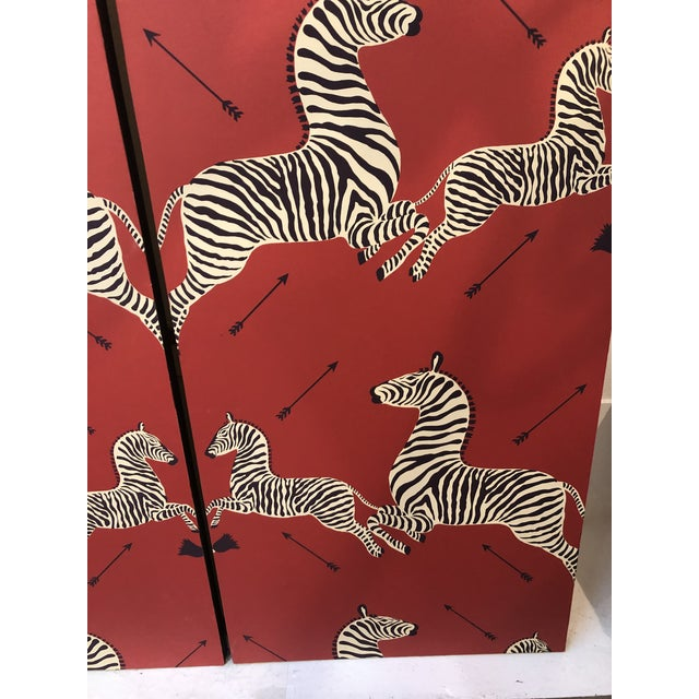 Wall Mounted Scalamandre Zebra Wallpaper Panels - a Pair For Sale In Atlanta - Image 6 of 13