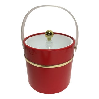 Vintage Red Patent Gold Banded Ice Bucket