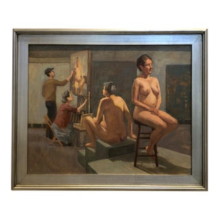 Vintage Oil on Canvas Nudes Study For Sale