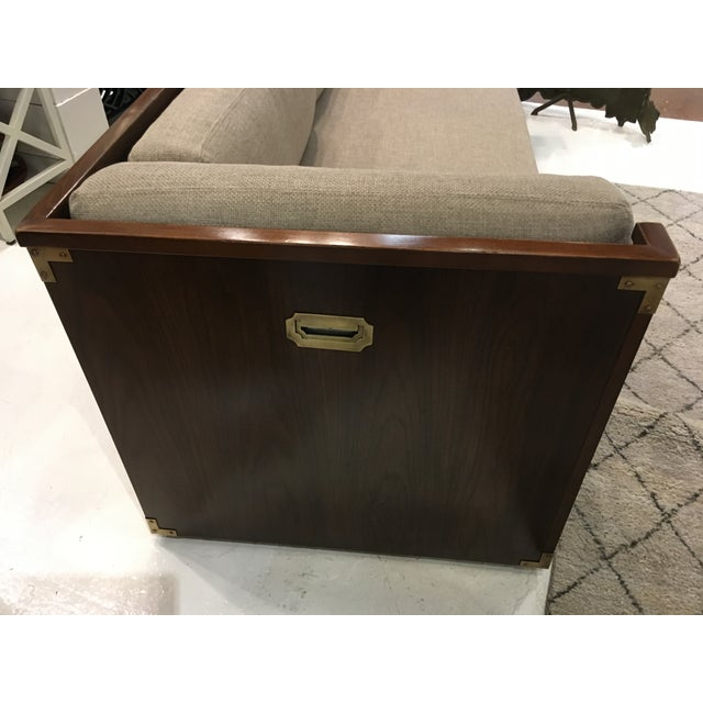 Campaign Campaign Style Sofa W/ Three Drawers For Sale - Image 3 of 8