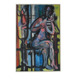"""The Face in the Mirror"" Cubist Figure in Oil, 1959"
