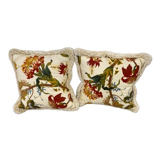 Down Filled Floral Print Pillows - a Pair For Sale
