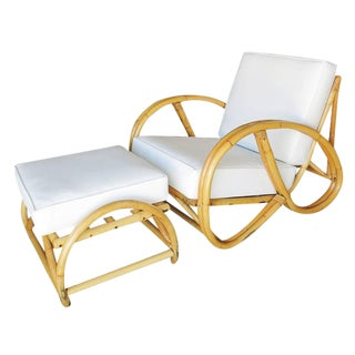 3/4 Pretzel Rattan Lounge Chair and Ottoman by Seven Seas Rattan