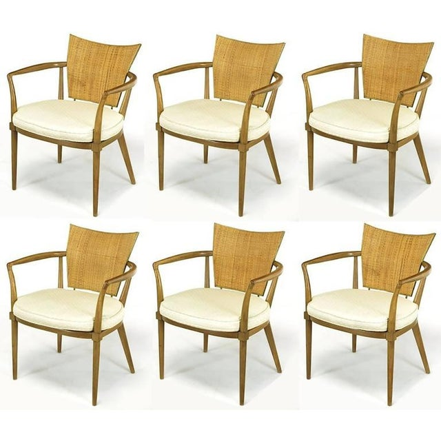 Set of Six Bert England Mahogany, Brass and Cane Dining Chairs - Image 2 of 7