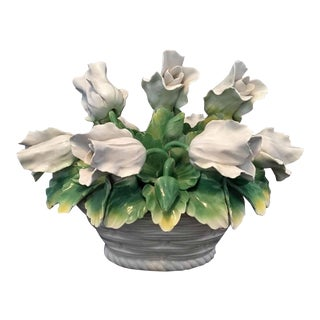 1960s 'Capodimonte Leaning Tulips in Basket Decor Item For Sale