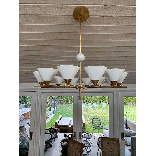 Contemporary Contemporary Brass Chandelier - Cleo For Sale - Image 3 of 7