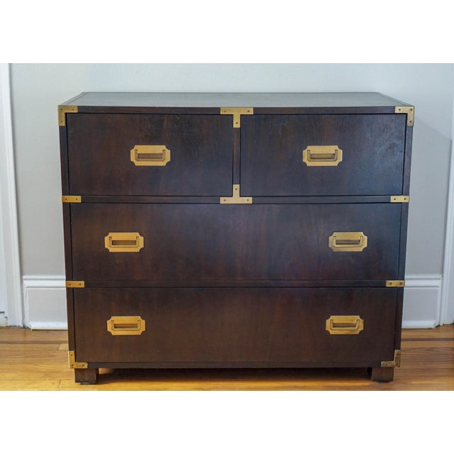 Campaign Baker Mid-Century Campaign Mahogany Chest of Drawers For Sale - Image 3 of 11
