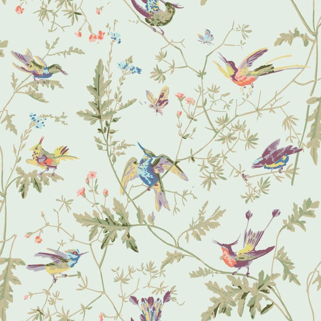 Not Yet Made - Made To Order Duck Egg Blue Background Cotton Fabric- Price Per Yard For Sale - Image 5 of 5
