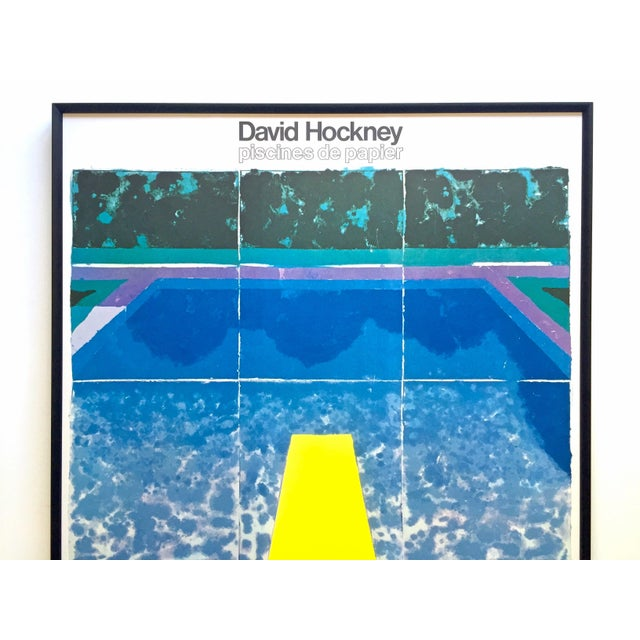 "This David Hockney rare vintage 1978 iconic fine art lithograph print custom framed large Pop Art poster "" Piscine avec..."