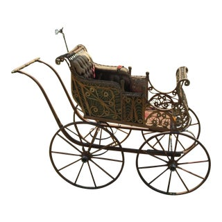Victorian Wicker Baby Carriage For Sale