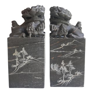 Carved Stone Foo Dogs - a Pair For Sale