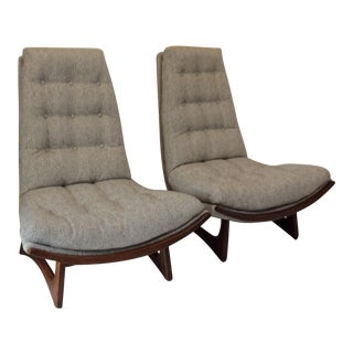 High Back Adrian Pearsall Style Chairs - A Pair For Sale