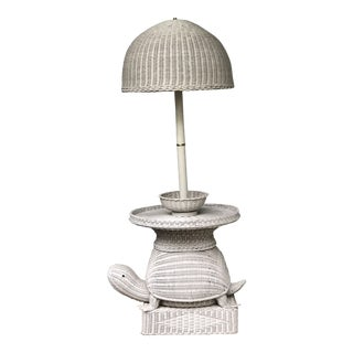 Vintage Rattan Turtle Floor Lamp Table in Style of Mario Torres For Sale