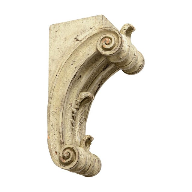 Fabulous pair of Antique Large Classical Wood Carved Corbels. Hand carved, painted in a cream color. A very shabby chic...
