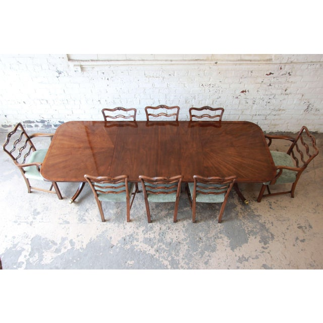 Drexel Heritage Banded Mahogany Double Pedestal Extension Dining Table With Eight Chairs For Sale - Image 13 of 13