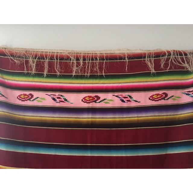 Vintage Mexican Serape Blanket - Image 5 of 6