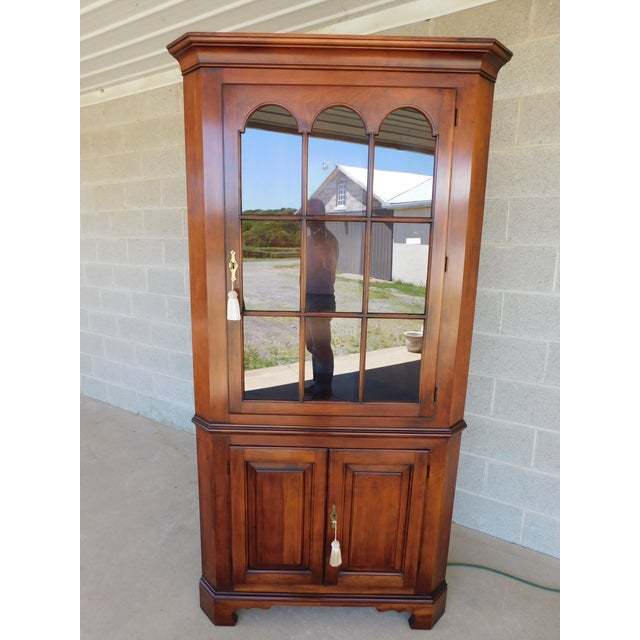 Late 20th Century Statton Old Towne Chippendale Style Cherry Corner Cabinet For Sale - Image 5 of 13