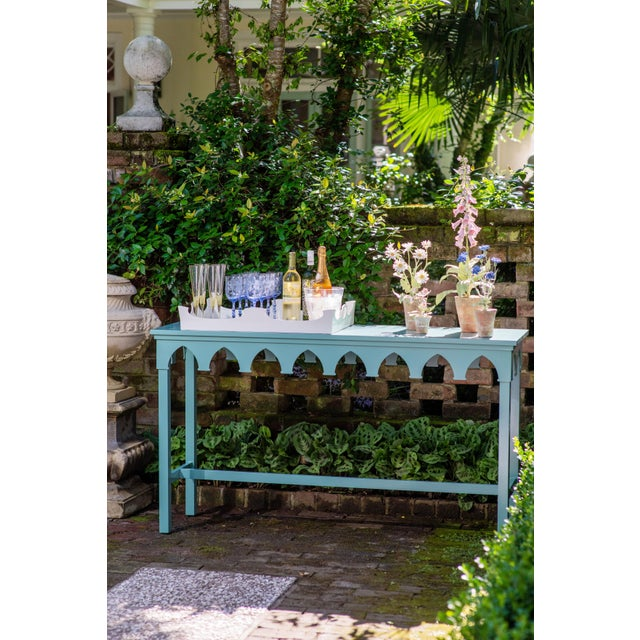 Oomph Oomph Ocean Drive Outdoor Console Table, Green For Sale - Image 4 of 8