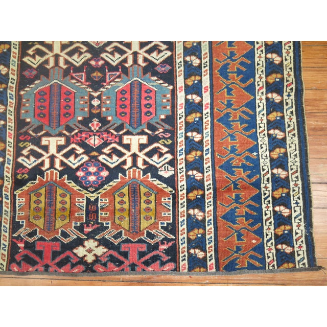 19th Century Antique Caucasian Rug Fragment- 2'11'' x 3'5'' For Sale - Image 5 of 6