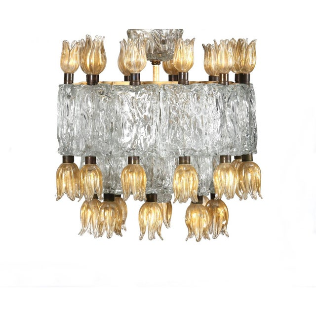 Barovier e Toso Barovier & Toso Chandelier, 50s For Sale - Image 4 of 5