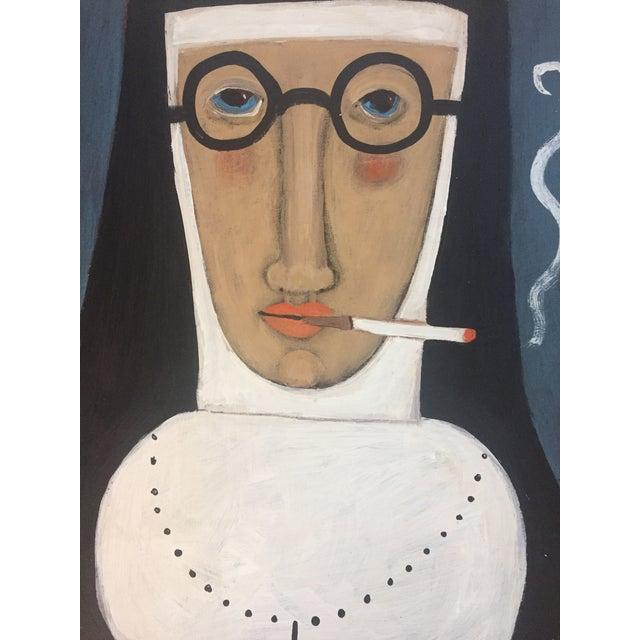 """Contemporary Folk Artist Rose Walton""""Smoking Nun"""" - Image 4 of 5"""