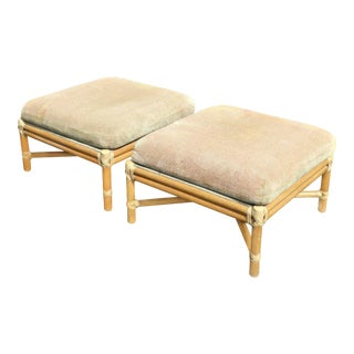 Vintage McGuire Furniture Bamboo Rattan Ottomans - A Pair
