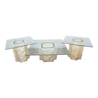 1980s Maitland-Smith Travertine Occasional Table Suite - 3 Pieces For Sale