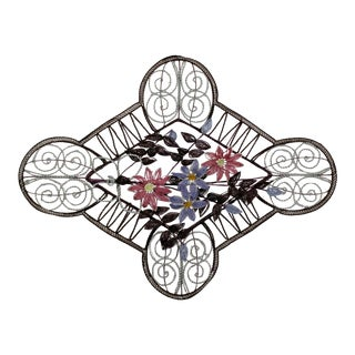 Art Deco Vintage Venetian Glass Beads Floral Wall Art Hanging Sculpture For Sale