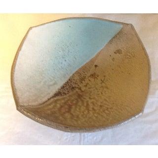 Vintage Beige & Blue Ceramic Art Pottery Pedestal Bowl Server Preview