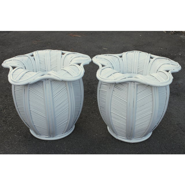 1970s Mid Century Modern Pencil Reed Bell Flower Side Tables or Nightstands - a Pair For Sale - Image 9 of 9