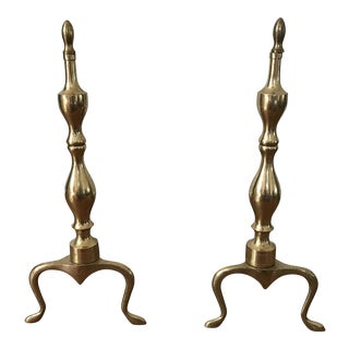 Mid-Century Curved Brass Andirons - a Pair For Sale