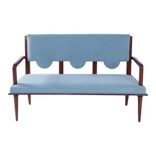French Mid-Century Arbus Style Light Blue Velvet Upholstered Loveseat With Teak Frame For Sale
