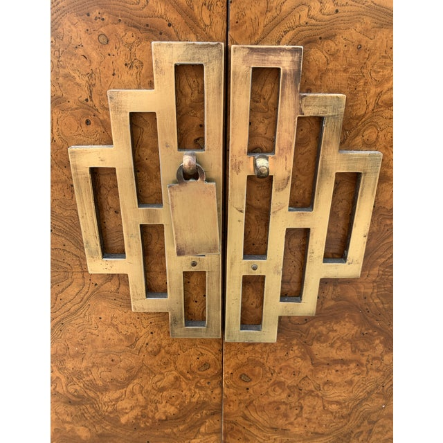 Raymond Sobota 1970's Century Furniture Burl Wood Cabinet With Brass Hardware For Sale - Image 4 of 6