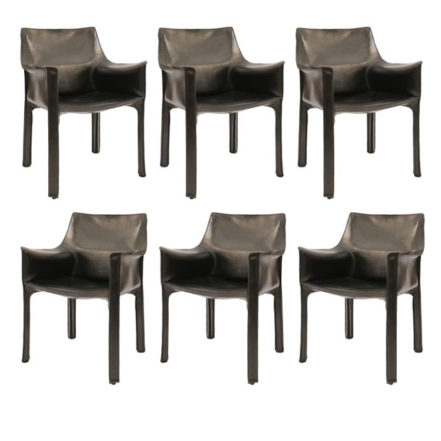 Six Mario Bellini Cab 413 Armchairs For Sale - Image 9 of 9