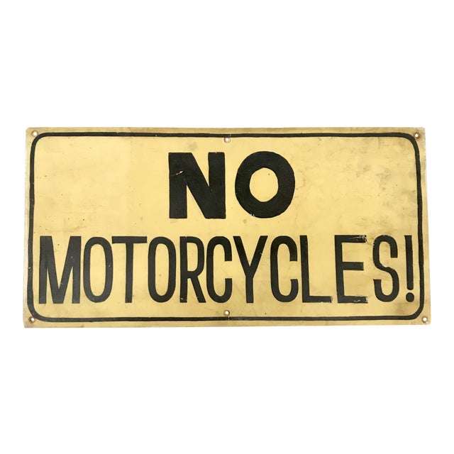 No Motorcycles Hand Painted Sign - Image 1 of 5