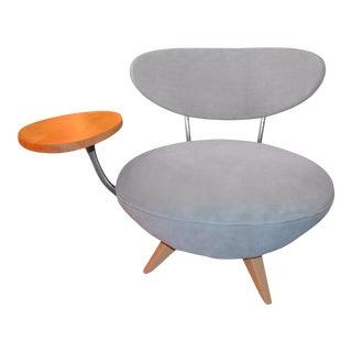 Art Deco Galerkin Design Side Table Swivel Chair Newly Upholstered For Sale
