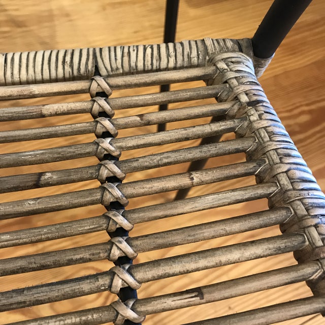 Modern Rattan and Wrought Iron Dining Side Chairs- 2 Left For Sale - Image 9 of 11
