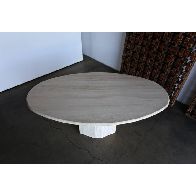 Late 20th Century Travertine Oval Dining Table Circa 1980 For Sale - Image 5 of 11