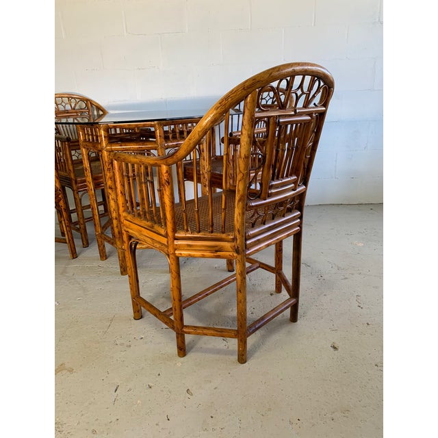1950s Brighton Pavilion Rattan Dining Set 4 Chairs and Table - Set of 5 For Sale - Image 5 of 10