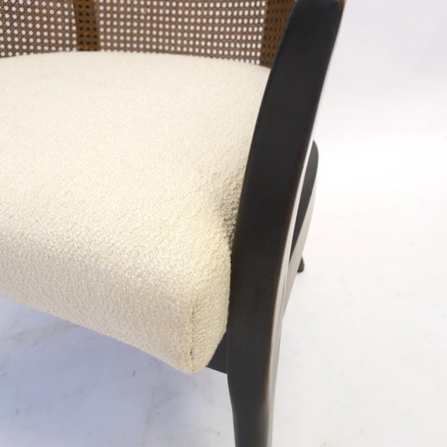 Asian Stunning Harvey Probber Cane and Mahogany Occasional Armchair For Sale - Image 3 of 5