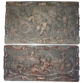 19th Century Antique French Renaissance Style Carved Wood Architectural Panels-A Pair For Sale