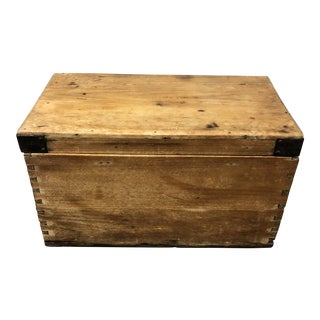 Antique Pine Wood + Iron Trunk For Sale