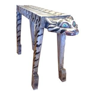 """Carved """"Tiger"""" Motif Bench For Sale"""