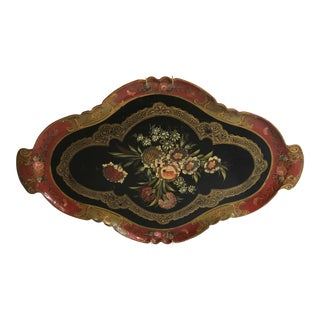 Vintage Red Florentine Style Japanese Tray