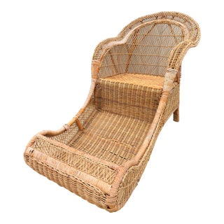 Antique Rattan & Wicker Sleigh Shape Lounge Chair For Sale