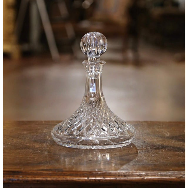 Glass Midcentury French Cut Glass Wine Decanter With Stopper For Sale - Image 7 of 7